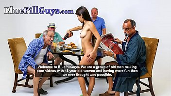 Horny Old Guys Give Teen Babe A Spitroasting