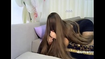 Fantastic Long Haired Playing with Hair Brush Long Hair