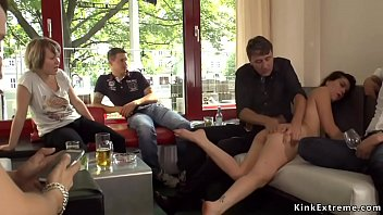 Petite Euro brunette babe Juliette March made by her master Steve Holmes suck him outdoor in public then in crowded bar pussy fucked