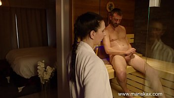 Petite brunette MILF has her ass pounded in a sauna