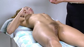 Virgin first time massage on hairy cunt of Lika