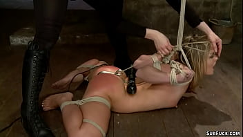 Hot ass blonde lesbian slave Sheena Shaw is hogtied and anal hooked then anal finger fucked in upside down suspension by lezdom Claire Adams
