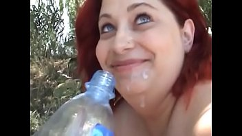 Pretty plus red head enjoys her wet holes banged hard outdoors