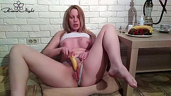 Watch Horny Babe Sucks Banana with Whipped Cream and Jerk Off - Solo preview