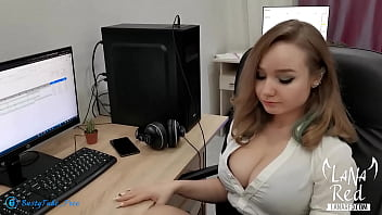 Boss Rough Doggy Ass Fucks Big Boobs Babe after Blowjob and Cum Inside in the work - Lana Red