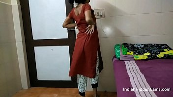 Indian Aunty Filmed In Bedroom Changing Dress And Fingering Pussy