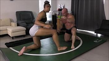 Tony wrestles with this hot ebony girl