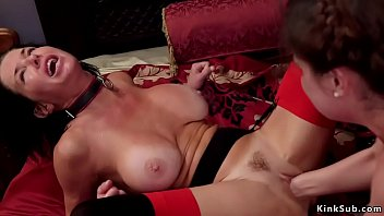 Lesbian maid Kasey Warner and senior big tits slave Veronica Avluv licking each other then master bangs them in bdsm threesome before they fisting