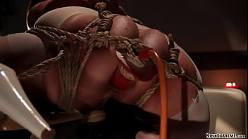 Sexually v. predator Claire Adams puts brunette Asian nurse Marica Hase in rope bondage with one leg in the air and then whips her hard and plugs her butt on hogtie
