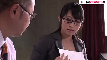 Asian secretary gets her hairy pussy fucked by the boss
