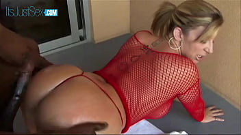 Blonde Sara Jay with oiled butt banged by giant dong
