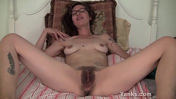 Tempting amateur babe from Yanks Sylvie Lavine playing with her hairy beaver upskirt