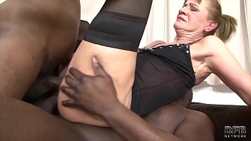 Granny fucked rough in ass and pussy she loves interracial black cocks