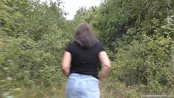 Slutwife gangbanged by plenty of random strangers in the bushes of a public park