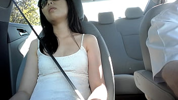 Asian Camel Toe / Upskirt While s. in Car