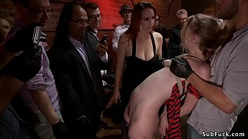 Mistress Bella Rossi drags tied up hottie Ela Darling in public bar and there makes her deep throat suck and rough fuck till gets cumshot for crowd