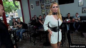 Master Steve Holmes electro shocks big tits blonde Euro slave Isabella Clarkin in public outdoor then in bar anal fucks her
