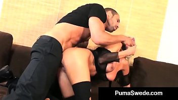 Busty Blonde Puma gets a big hard cock in her perfect shaved pussy & then gets a lovely load of sweat jizz all over her which she plays with for us! Thumbnail