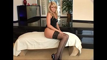 Gorgeous blonde lady in black stockings Samantha Ryan gets her twat and asshole fucked by tattoed guy