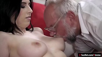 Busty 19yo Russian Sheril Blossom has her tasty tits sucked by a grandpa.She gets all naked and has her shaved pussy eaten before she rubs herself while sucking off his cock.She sets her pussy on his cock and gives him the ride of his life