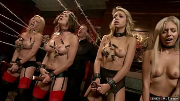 Four hot slaves in lingerie Carmen Caliente and Dee Williams and Krissy Lynn and Madelyn Monroe are rough banged by Bill Bailey and John Strong