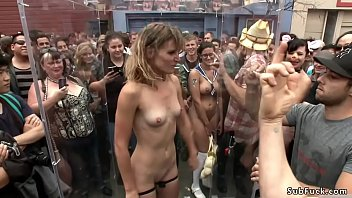 Ariel X and Bill Bailey fuck and fist sexy blonde slut Mona Wales in public restroom then drag her on the streets at folsom street fair for caning