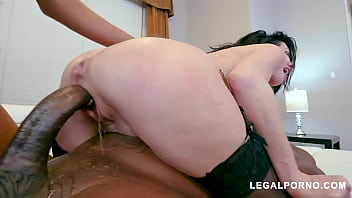 Interracial anal queen Veronica Avluv takes two huge monster dicks deep in her booty