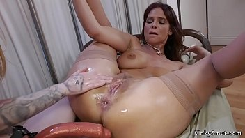 Busty Milf doctor Syren de Mer butt plugs pale blonde lesbian patient Sheena Rose with inflatable sex toy then anal fists hertill gets fucked