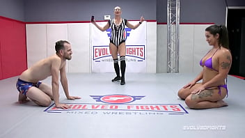Mixed nude wrestling battle with Miss Demeanor vs Chad Diamond giving him head and being nailed hardcore