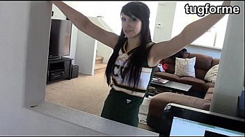 cheerleader catches daddy wanking his cock