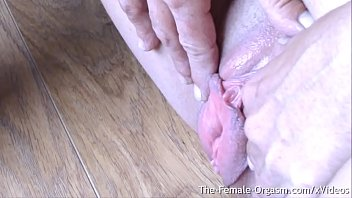 FIT Mature with Large Pussy Lips and Saggy Tits Masturbates To Clit Hopping Orgasm Up Close