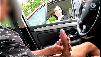 This nun stops on the highway and sees a big cock from her car !!