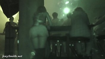 Sexy girl without panties flashing pussy in a club