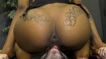 Ebony Secretary Makes Her Boss Lick Her Asshole - Femdom