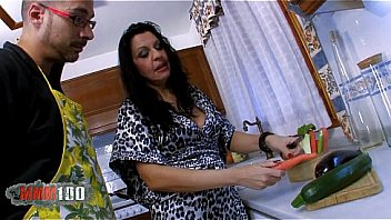 Spanish Mature wife food fucking in the kitchen with loads of squirting