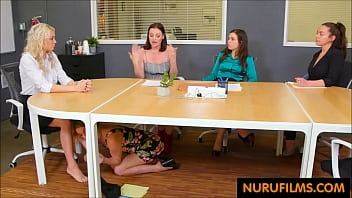 office lesbian sex under the table
