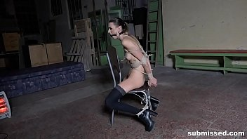Gagged, spanked and pussy t. until she cums