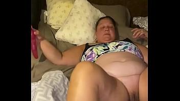 BBW slut with her vibrator