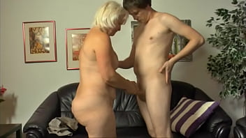 They guy is so horny so he was not even shy to fuck his step grandma making her cunt creamy