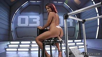 Big booty ebony hottie masturbates with Hitachi and then fucks machine and squirts