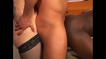Horny dude fucking the other guy while brunette slut gives a blowy