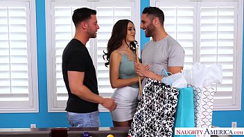 Lana Rhoades is a Cock Hungry Cheating Slut, Gets Fucked by Two Guys in a Threesome and Cums Hard