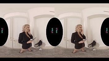 Stunning busty blonde MILF rides your cock in virtual reality