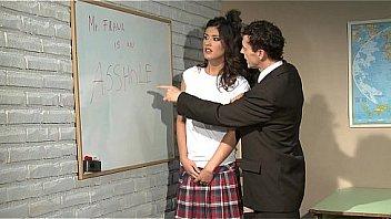 Schoolgirl gets punishment.