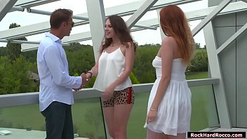 Rocco Siffredi meets three gorgeous babes.He lets the two leave and he starts licking the pussy of remaining one.After that,they go inside and he lets them throat his cock and in return he licks their ass first before he fucks them one by one.