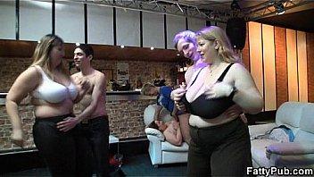 She fucks while her fat GFs watch
