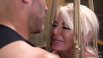 Big boobs blonde Milf London River with huge ass brutalized by her master in dungeon