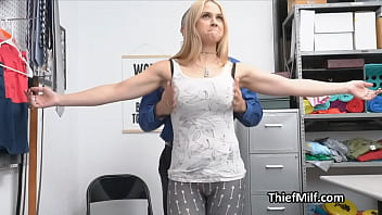 Slutty busty MILF drilled hard on the office desk after strip search