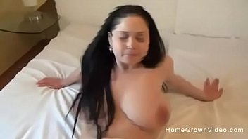 Sexy brunette with big natural boobs rides my cock