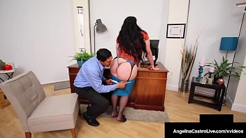 Beautiful Cuban Babe Angelina Castro & Hot Ebony Harmonie Marquis, blow, bang & milk a hard throbbing dick in this office taboo threesome! Full Video & Angelina Live @ AngelinaCastroLive.com!